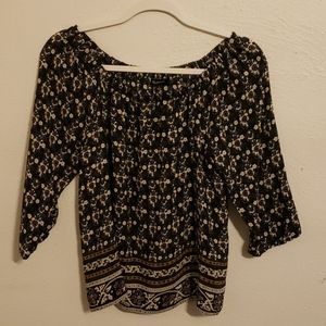 Madewell Black Print Top Size S